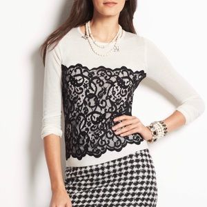 Ann Taylor Black Lace Overlay Sweater